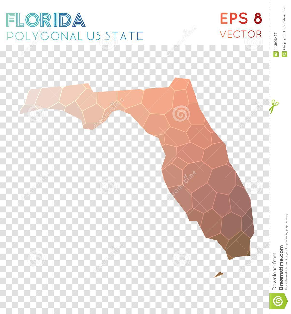 Download Florida Polygonal Map, Mosaic Style Us State. Stock Vector    Illustration Of Border