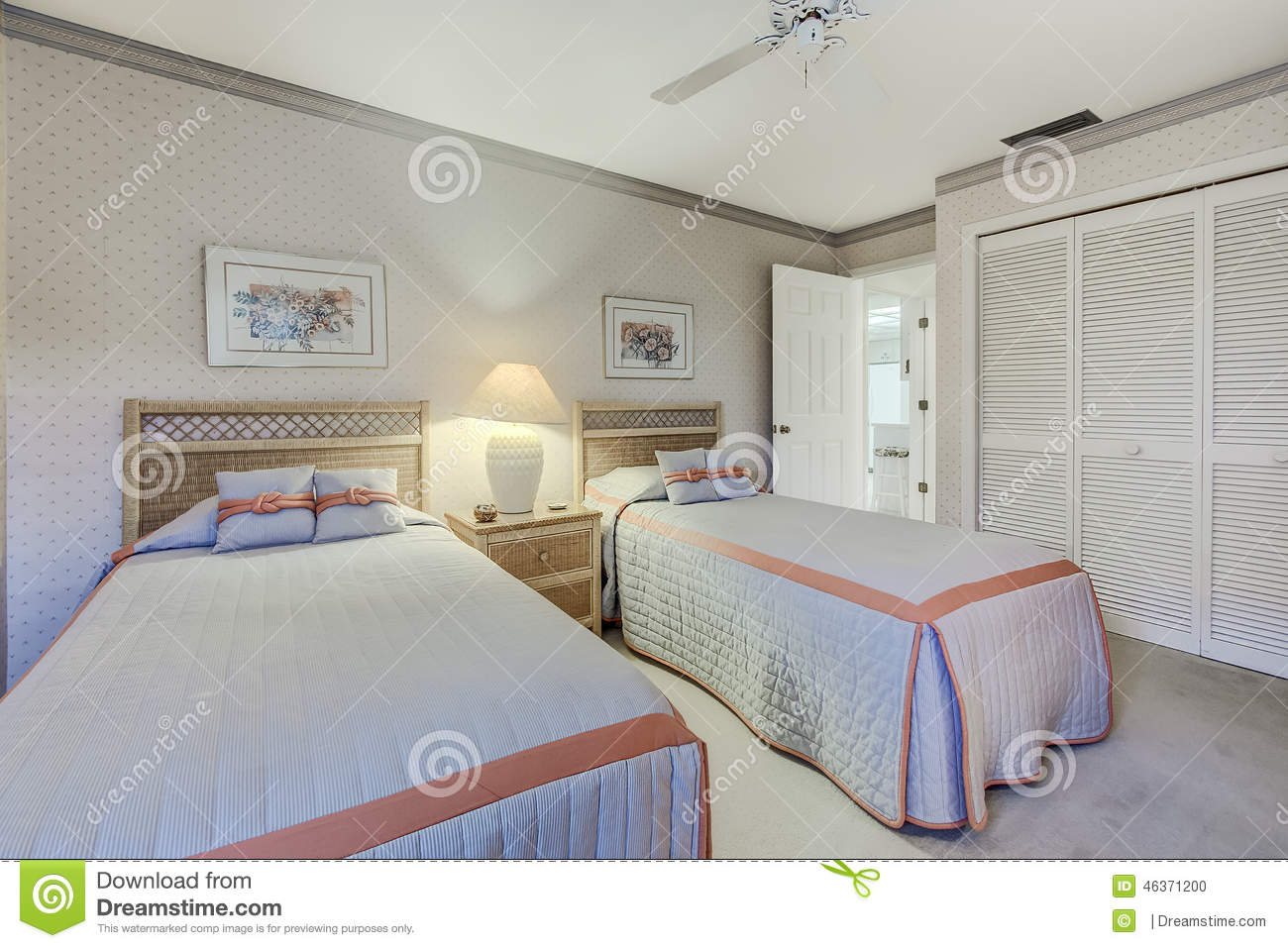Florida Private Home Guest Bedroom With Two Twin Beds