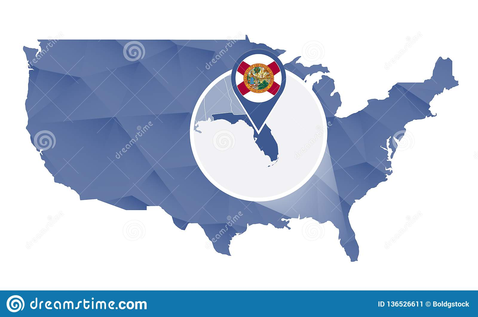 Usa Map Florida State.Florida State Magnified On United States Map Stock Vector