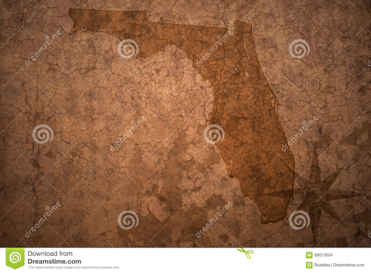 Old Florida Maps.Florida State Map On A Old Vintage Paper Background Stock Photo
