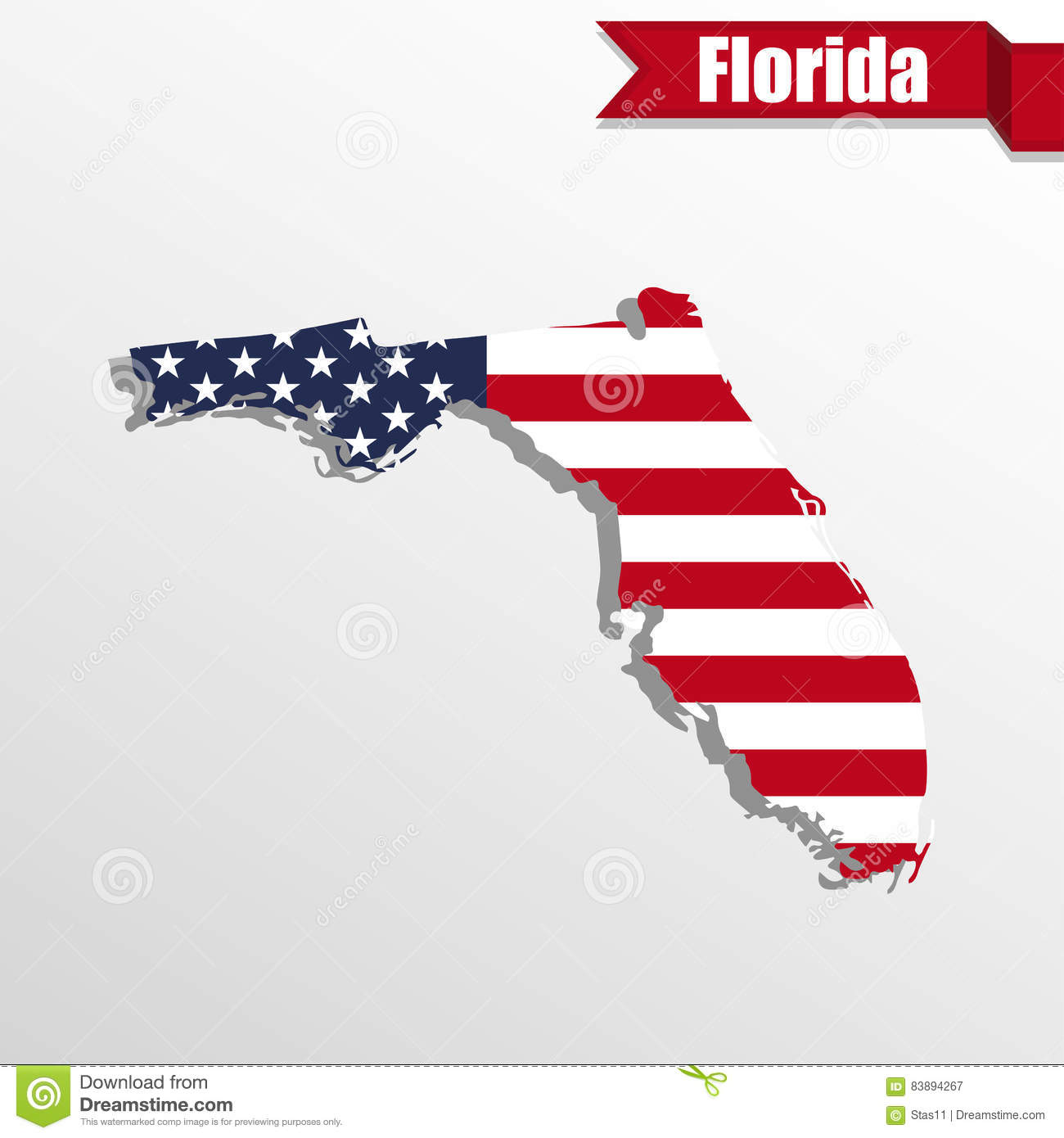 Florida State Map With US Flag Inside And Ribbon Stock - Us map florida state