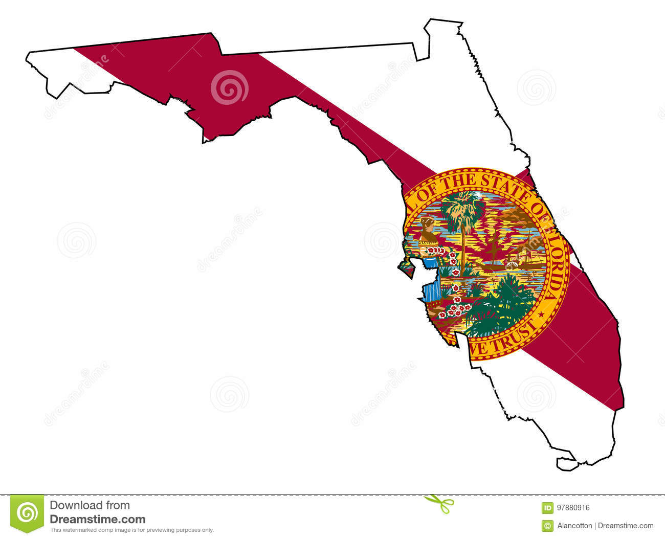 Florida Map Of State.Florida State Outline Map And Flag Stock Vector Illustration Of