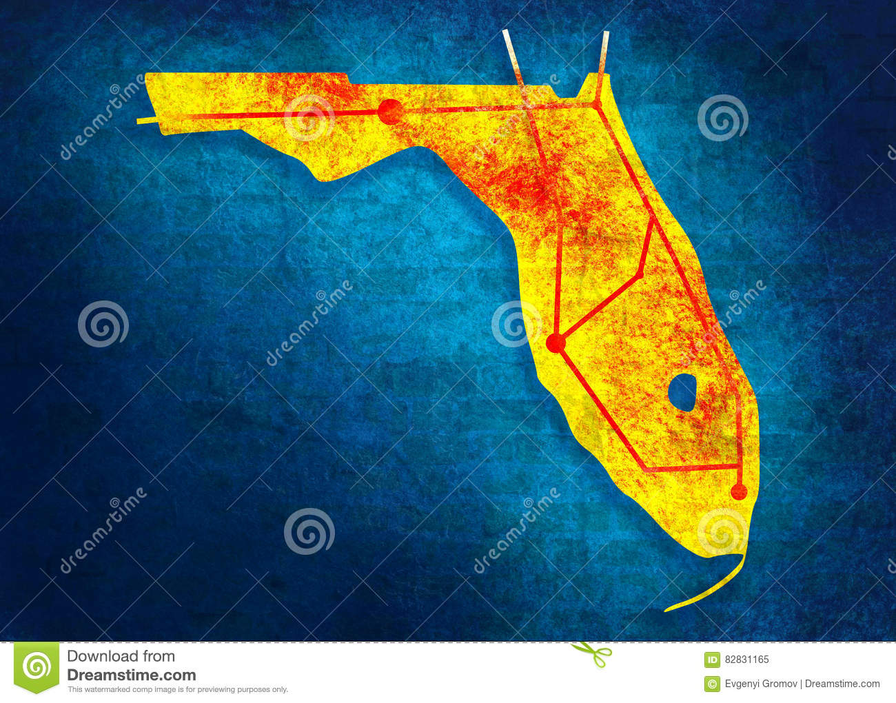 Florida State Road Map.Florida State Road Map Stock Image Image Of Locations 82831165