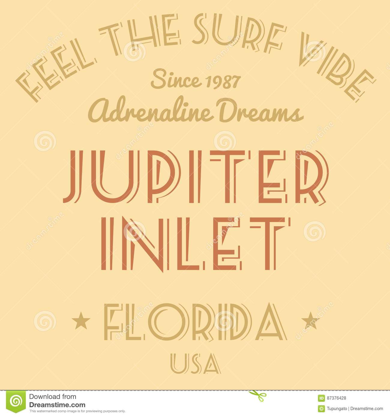 8912bff6e19b T-shirt design - fashion graphics. Surfing vacation typography. Jupiter  Inlet