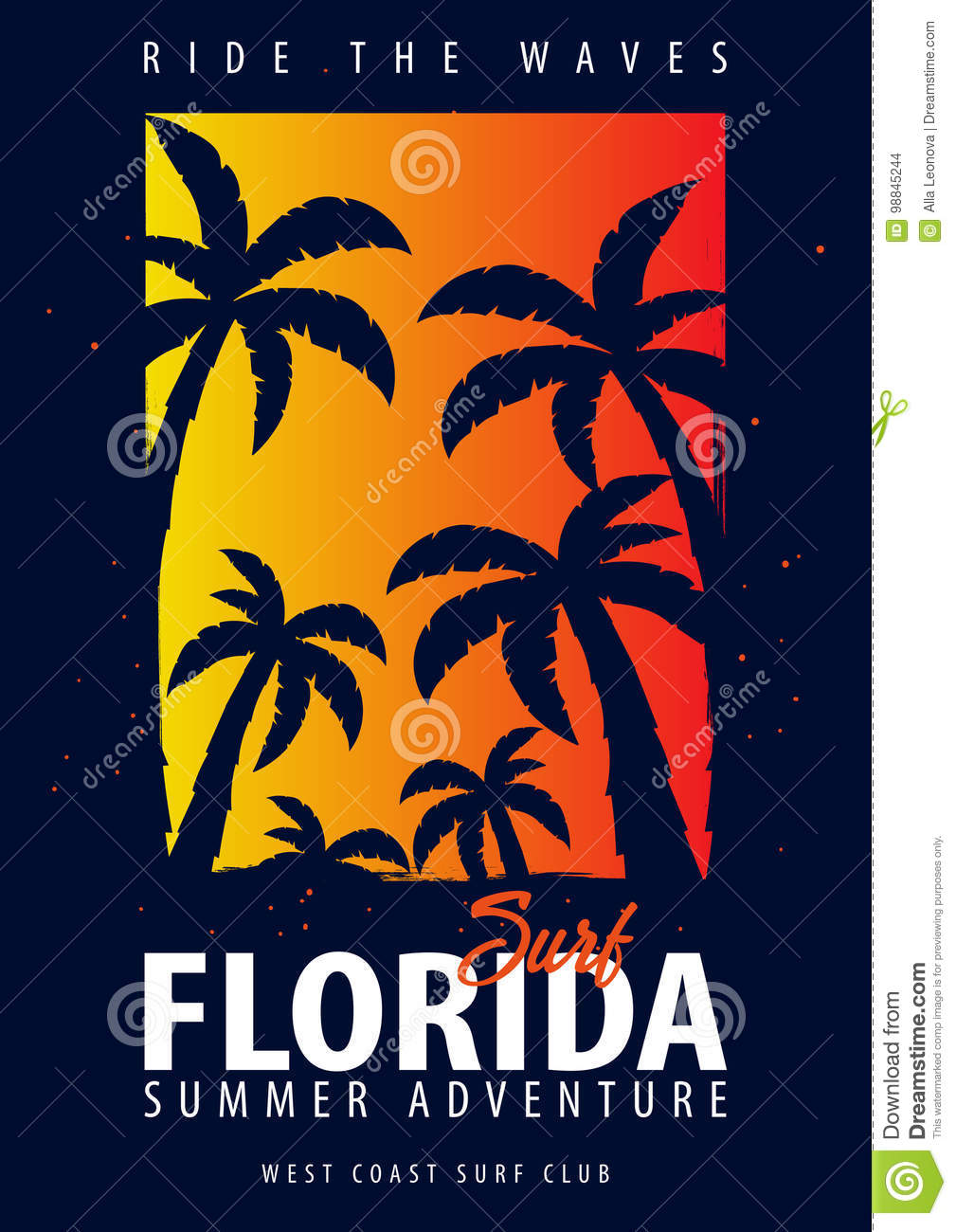 Florida Surfing Graphic With Palms T Shirt Design And Print Stock