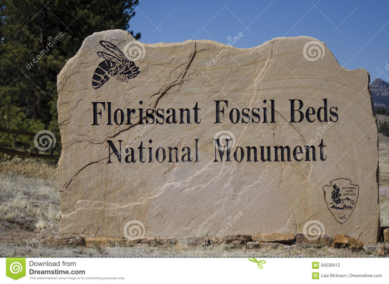 Florissant Fossil Beds National Park Monument Sign to entrance