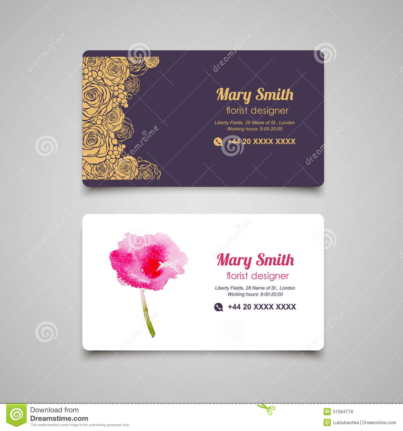 Florist business card vector design templates set stock vector florist business card vector design templates set cheaphphosting Gallery