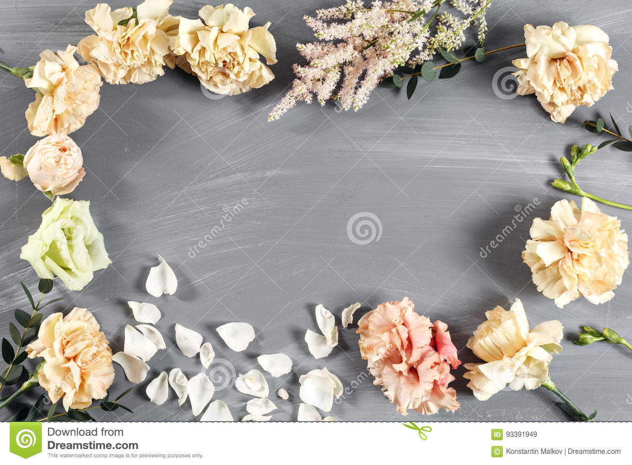 The Florist Desktop With Working Tools On Gray Wooden Background