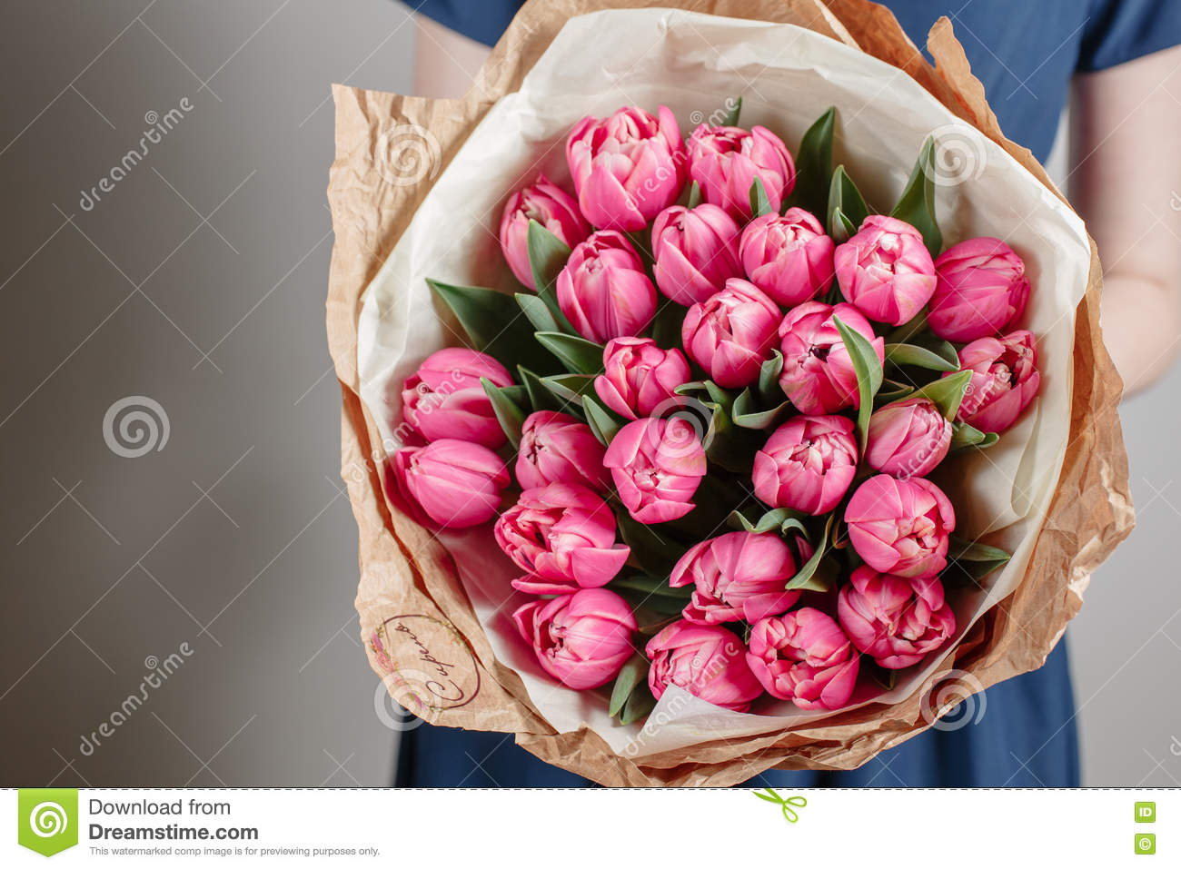 Florist girl with peony flowers or pink tulips young woman flower florist girl with peony flowers or pink tulips young woman flower bouquet for birthday mother s day izmirmasajfo