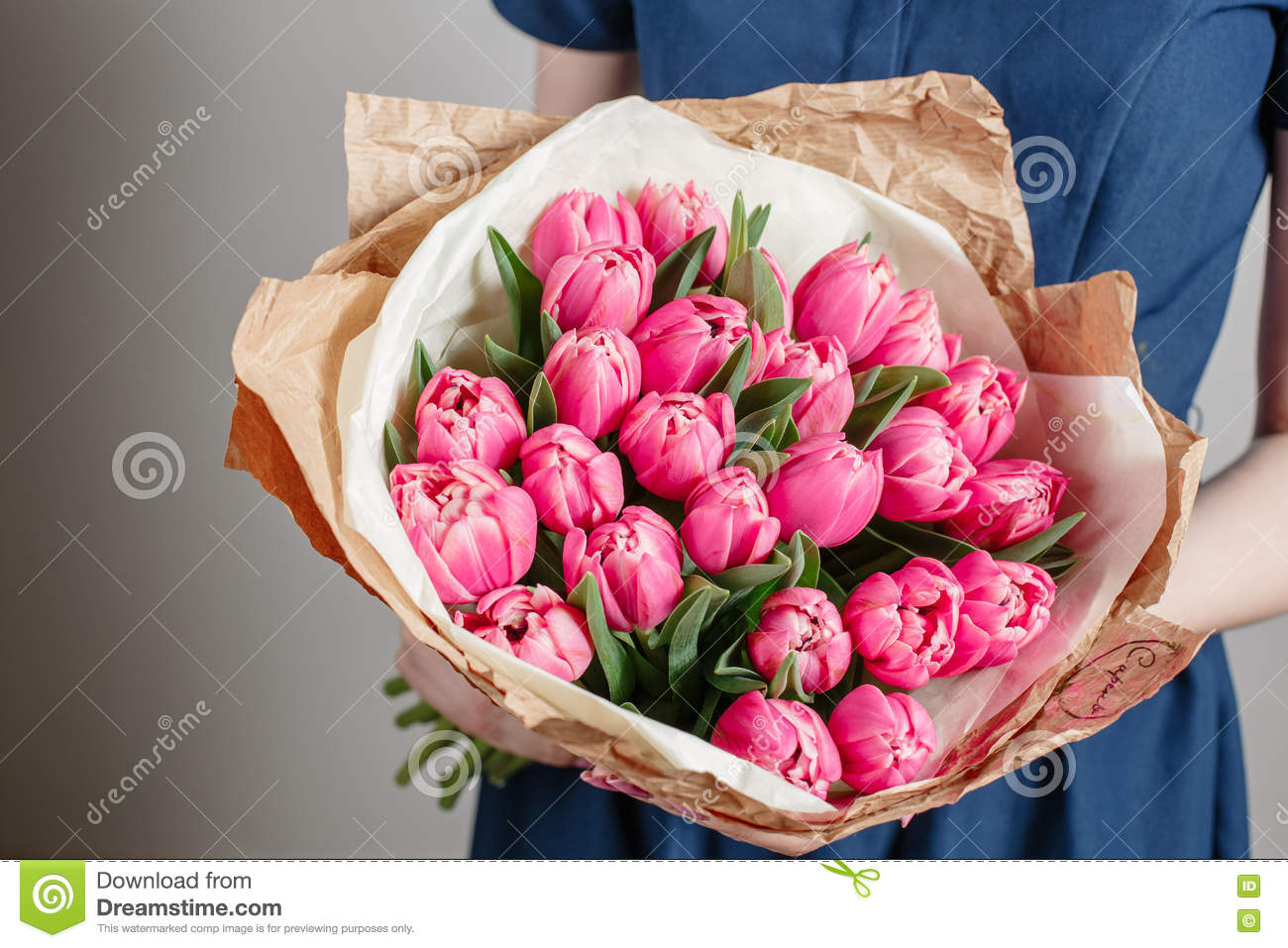 Florist Girl With Peony Flowers Or Pink Tulips Young Woman Flower