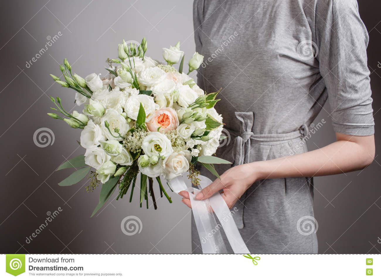 Florist Girl With Rich Bunch Flowers Fresh Spring Bouquet Summer