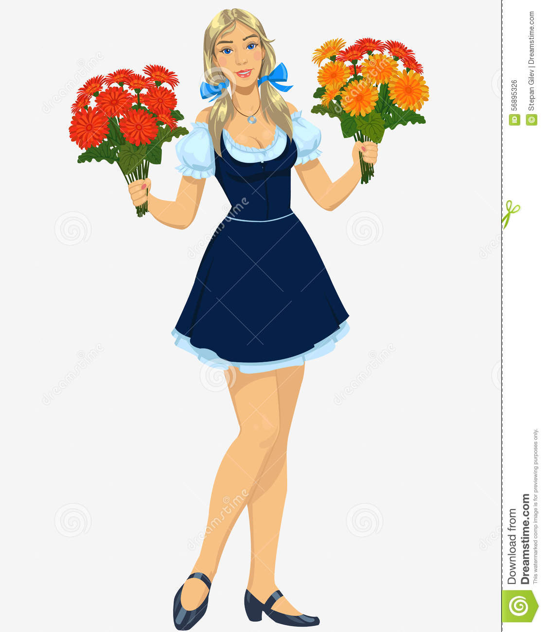 Cheerful Young Saleswoman Is Working In Flower Stock Photo