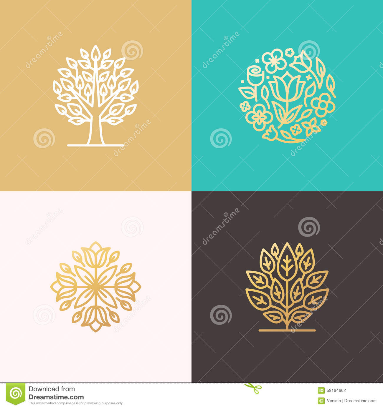 Rose Flower Logo With Circle Badge Template: Florist And Landscape Designers Logos Stock Vector