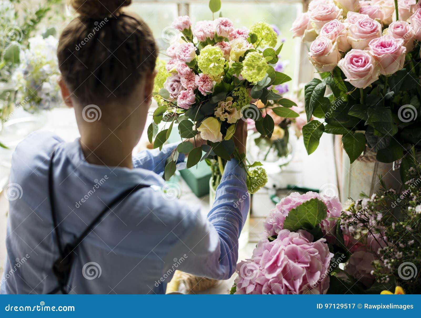 Florist Making Fresh Flowers Bouquet Arrangement Stock Image Image