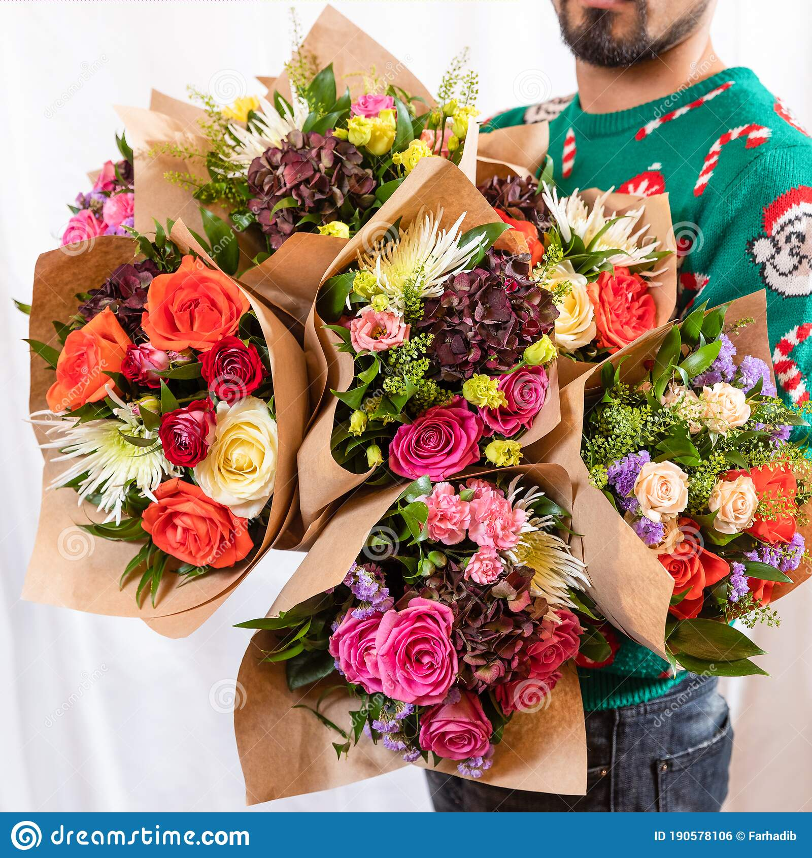 Florist Holding Beautiful Flower Bouquets Stock Photo Image Of Flower Decor 190578106