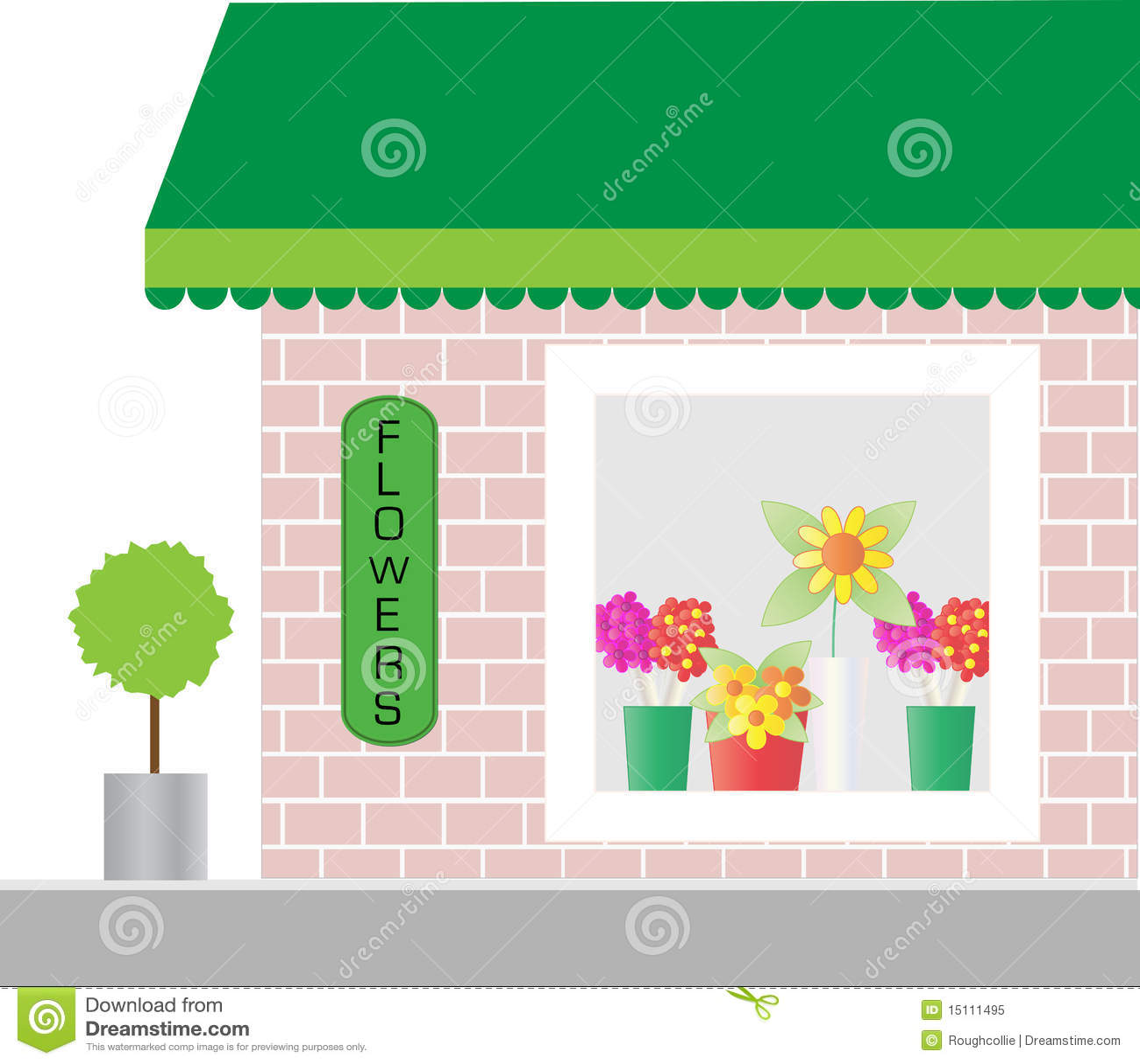 Florist Shop Window Stock Illustration Illustration Of Canopy