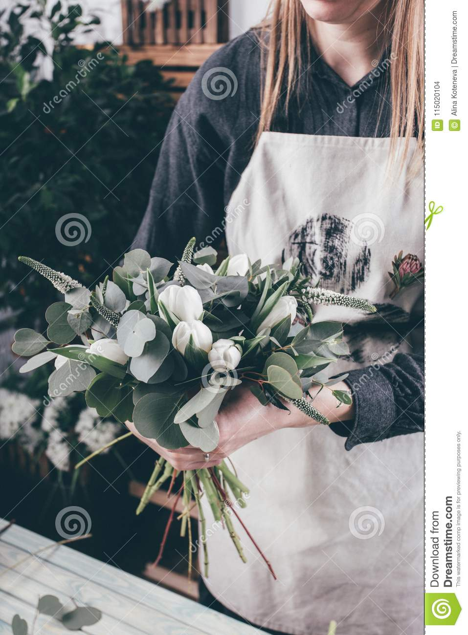 Florist At Work On Arragment Flower Bouquet Stock Photo Image Of