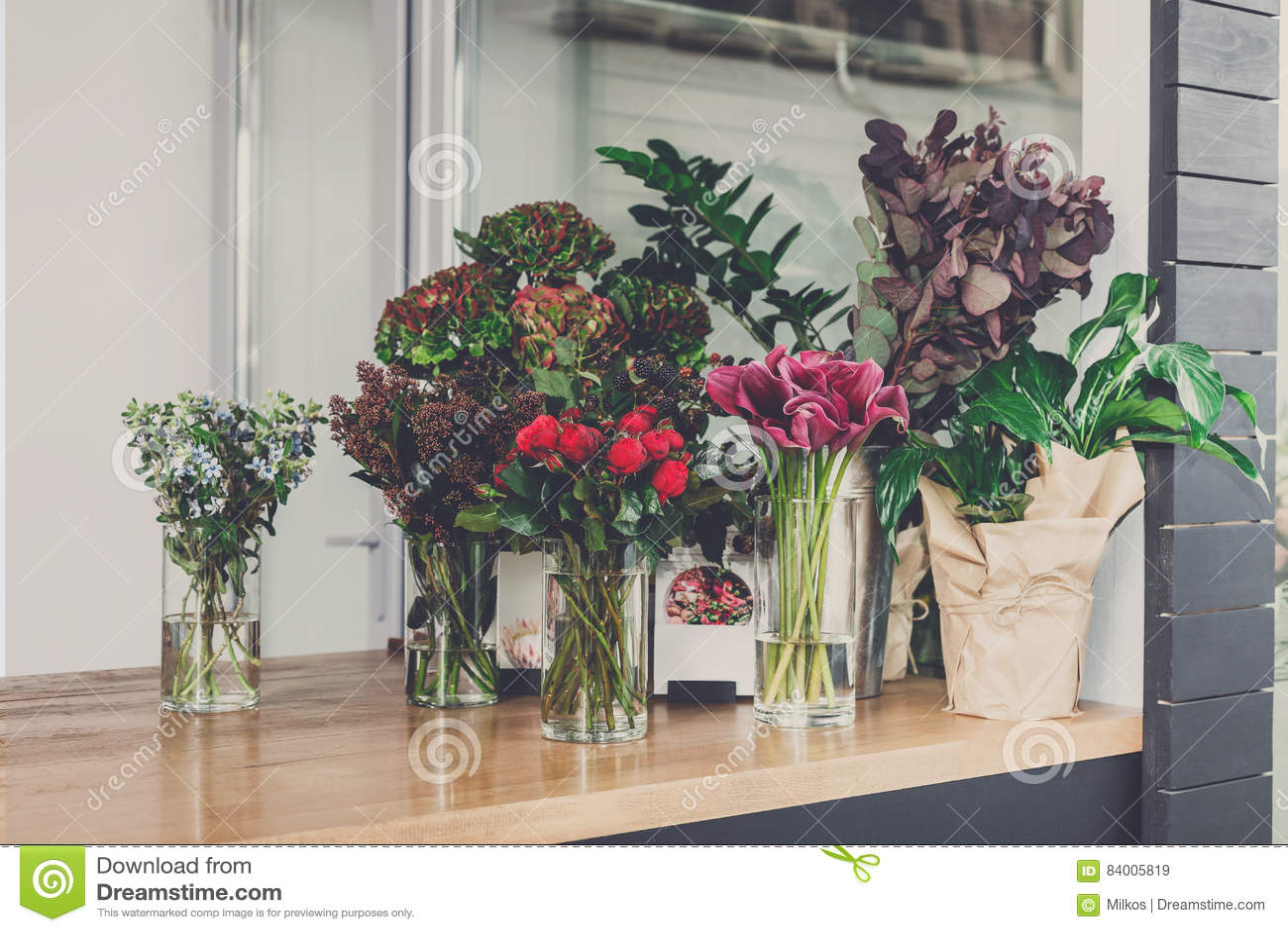 Florista interior, empresa de pequeno porte do estúdio do design floral