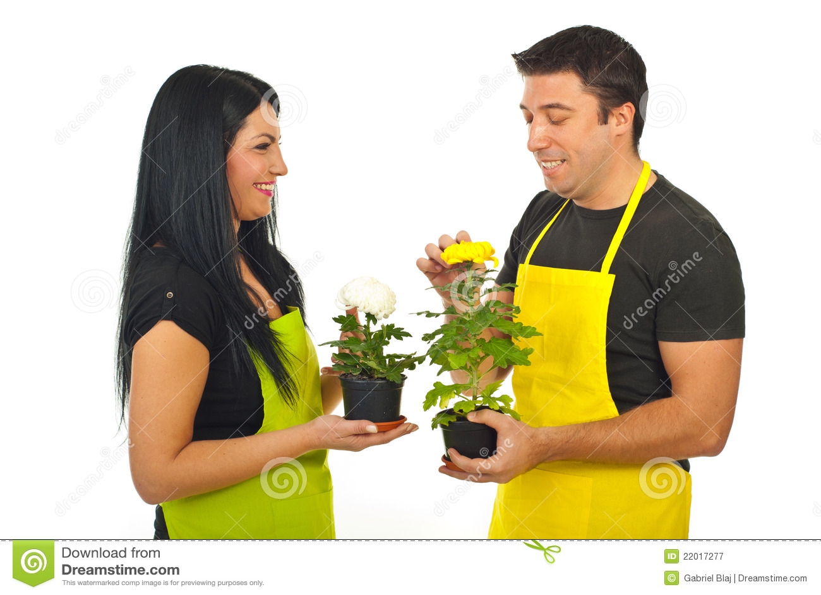 Floristas alegres que têm a conversação