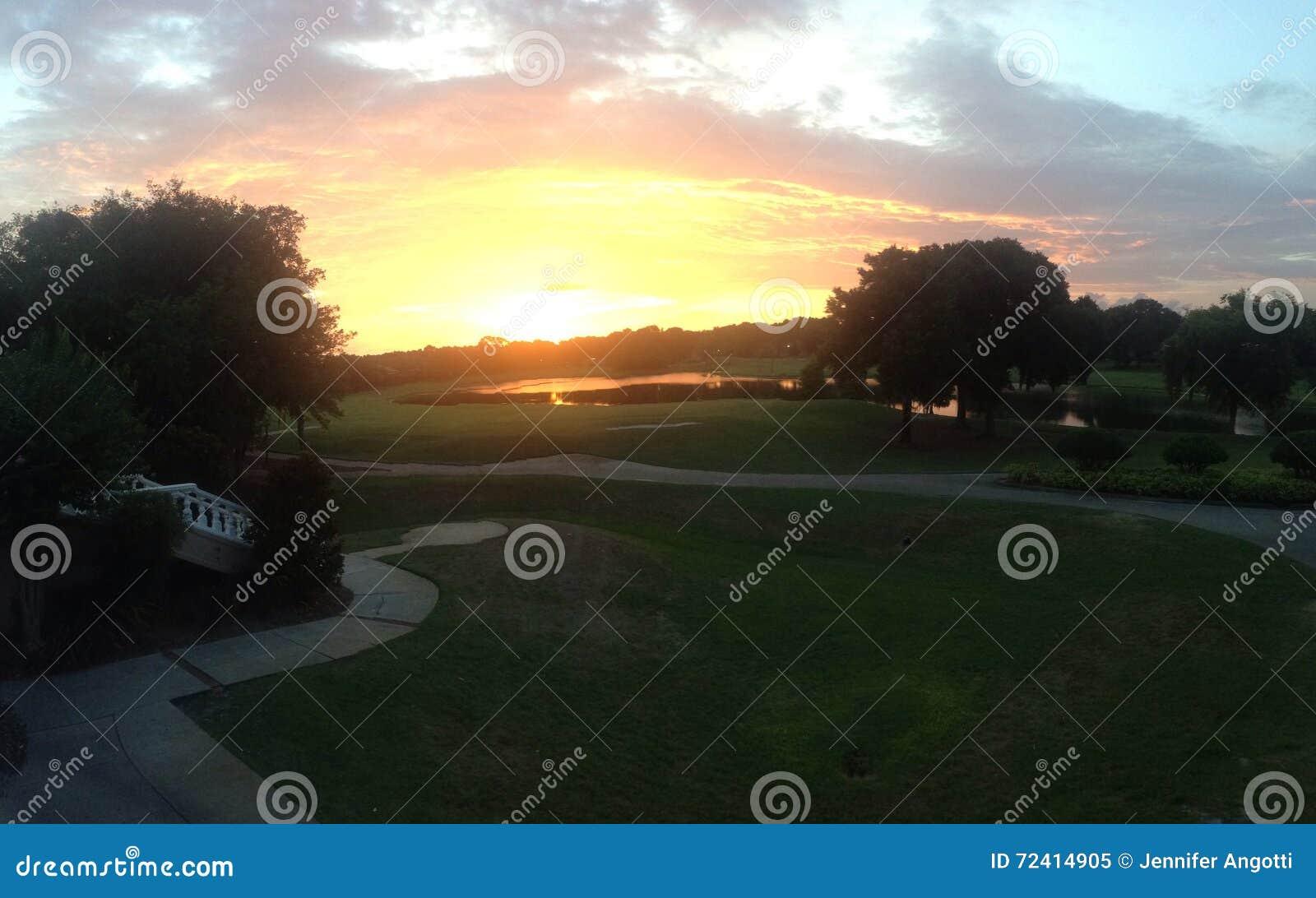 Floryda pola golfowego zmierzchu golf