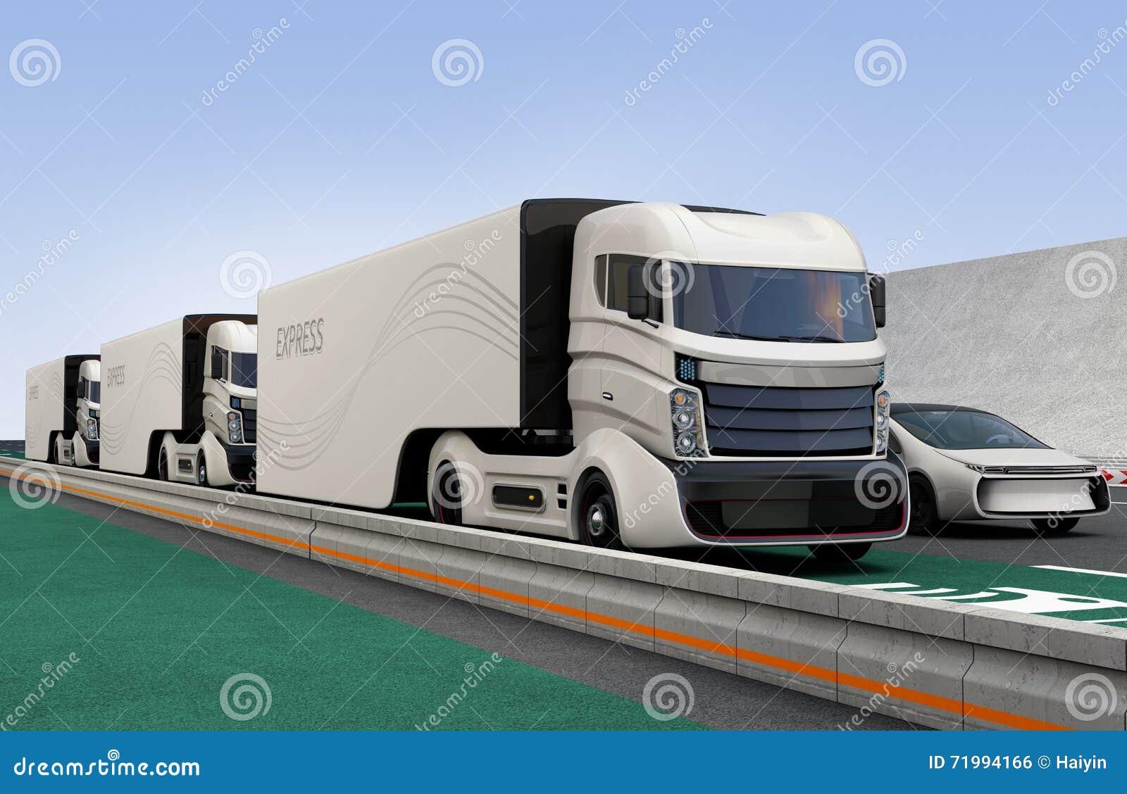 Flota autonomiczny hybryd przewozi samochodem jeżdżenie na bezprzewodowym ładuje pasie ruchu