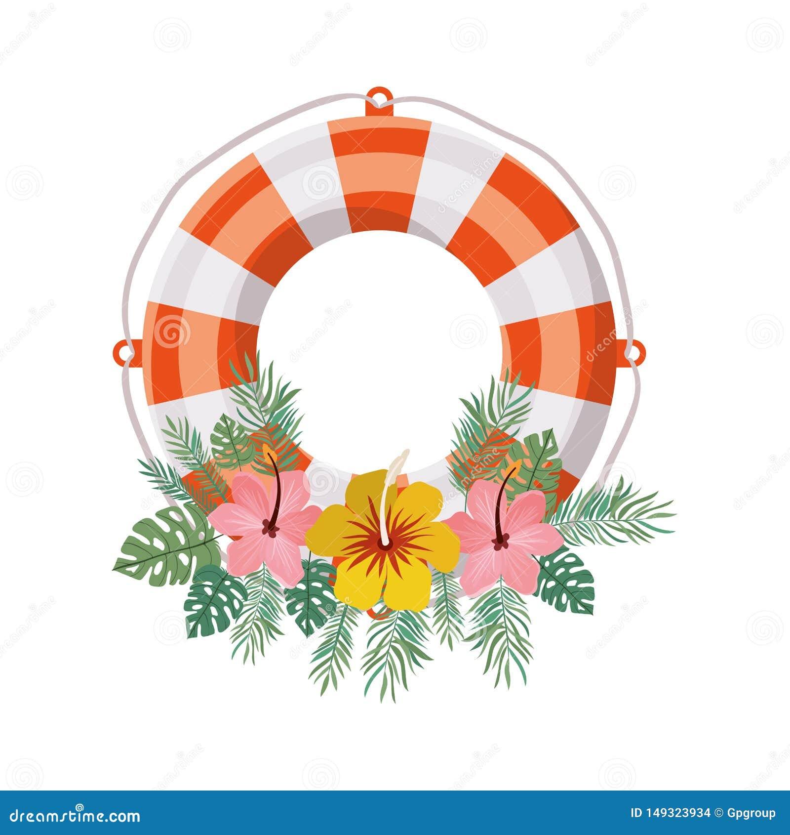 Flotador salvavidas en el fondo blanco