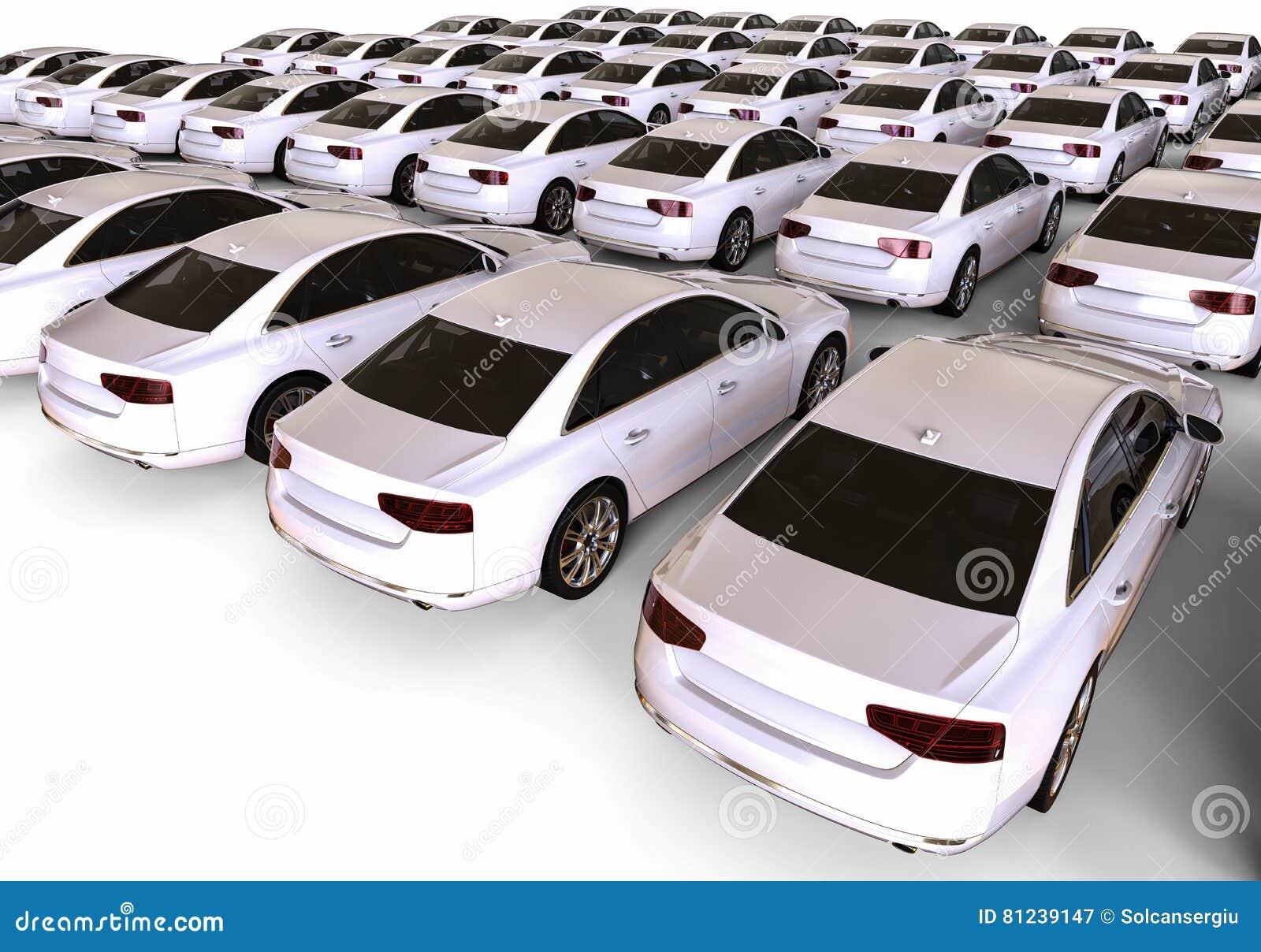 Flotte blanche de voiture
