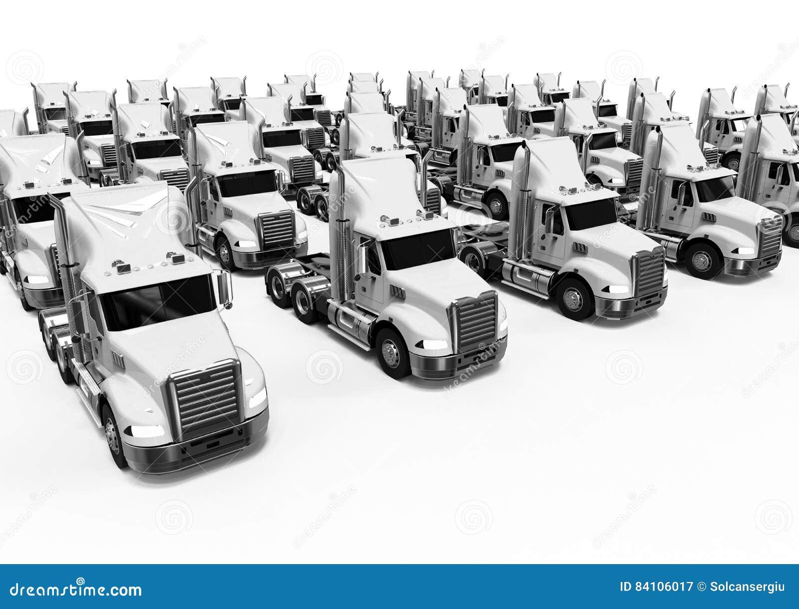 Flotte de camions américaine blanche