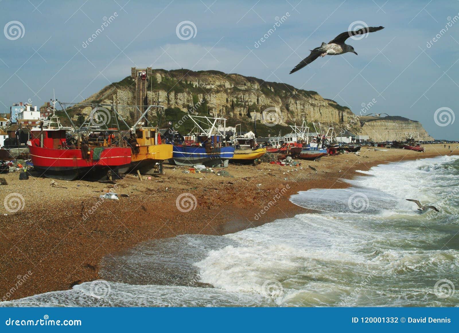 Flottiglia peschereccia di Hastings Sussex orientale, Inghilterra
