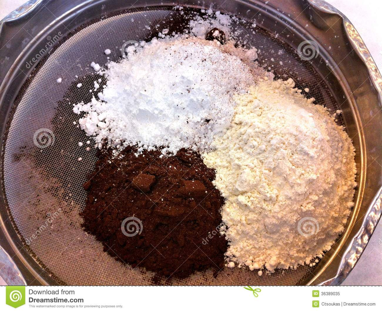 Flour Cocoa And Icing Sugar In A Sift Royalty Free Stock ...