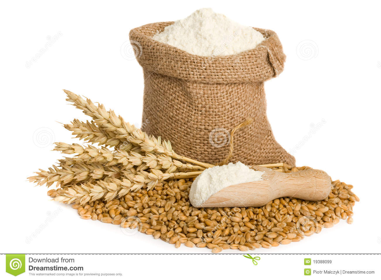 Flour in small burlap sack stock image. Image of group ...
