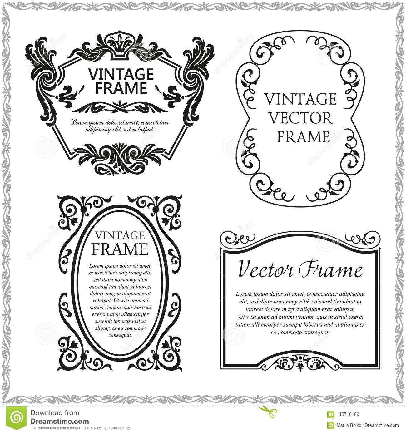 Vintage Decorative Frames Set Stock Vector - Illustration of ...