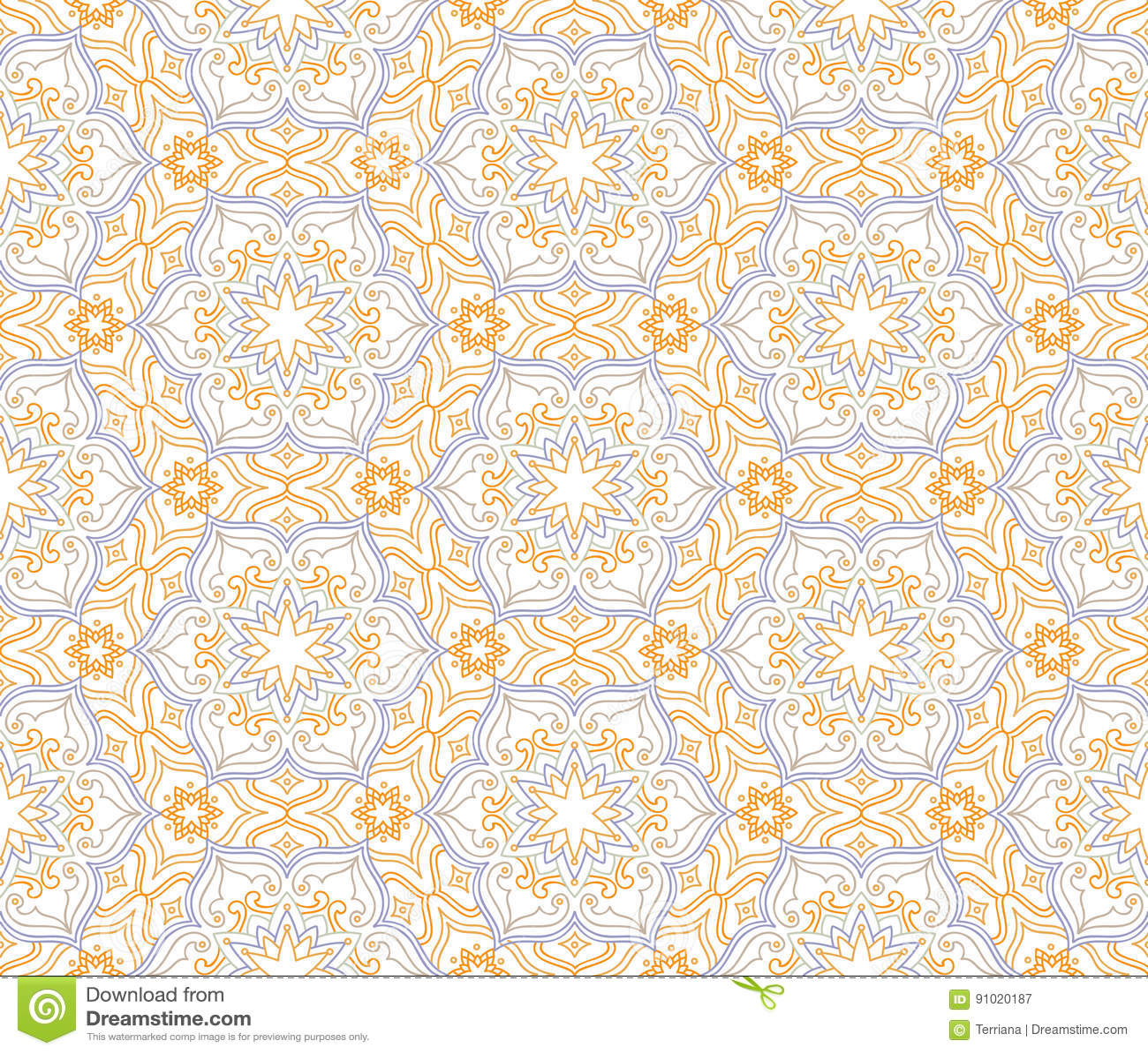 Flourish Mosaic Tiled Pattern Floral Oriental Ethnic