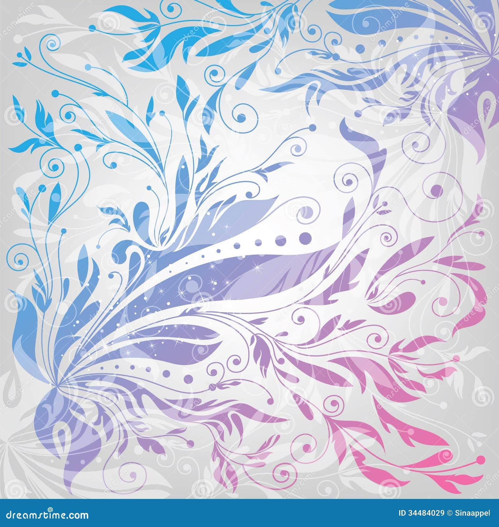 Flourishes background, floral pattern, vector illu