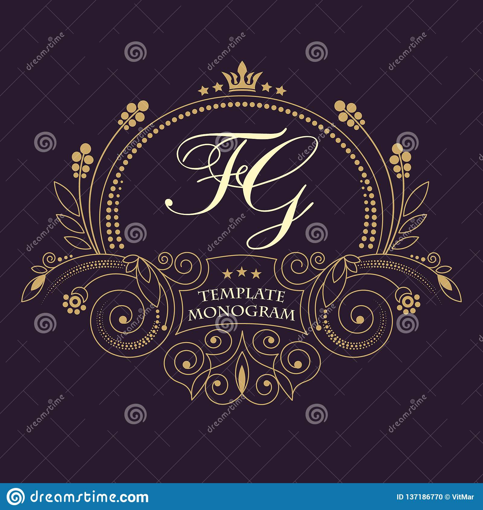 76f6e0260a66 Flourishes calligraphic wedding monogram emblem template. Luxury elegant  frame ornament line logo design vector illustration.