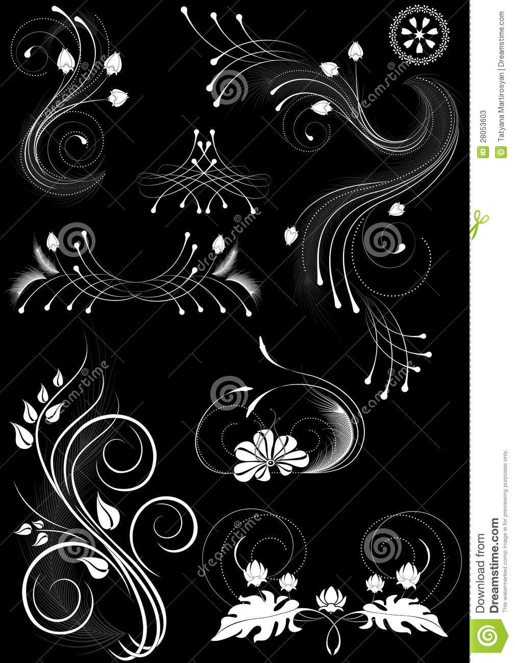 Details On Her 3 Shades Of: Flourishes Decorative Details On Black Background Stock