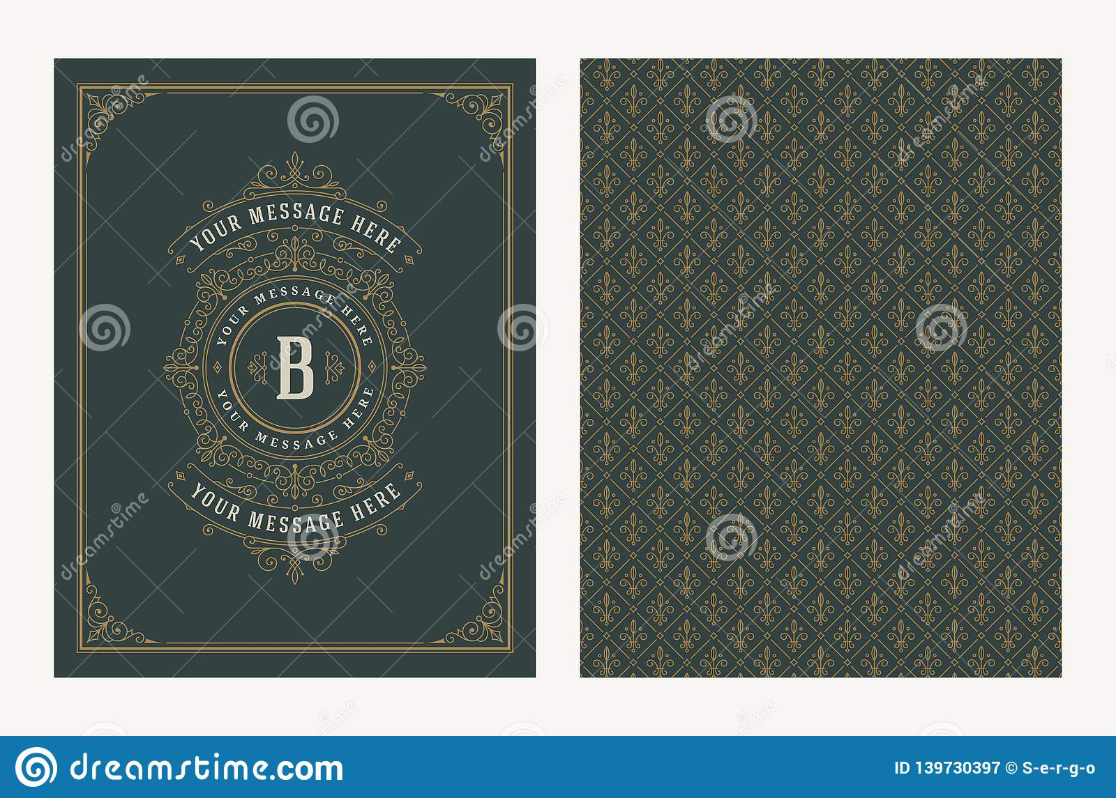 Flourishes And Ornamental Vector Vintage Design For Greeting