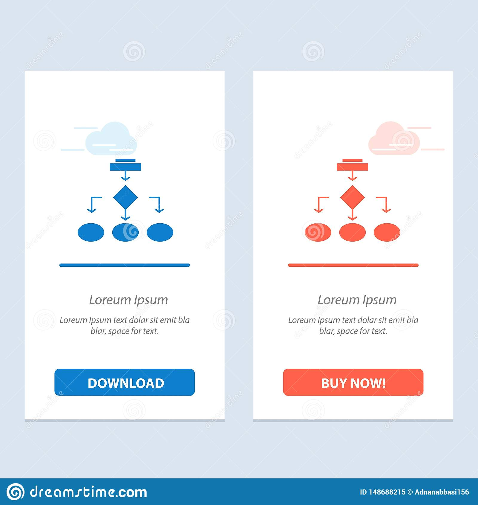 Flowchart, Algorithm, Business, Data Architecture, Scheme, Structure, Workflow Blue and Red Download and Buy Now web Widget Card