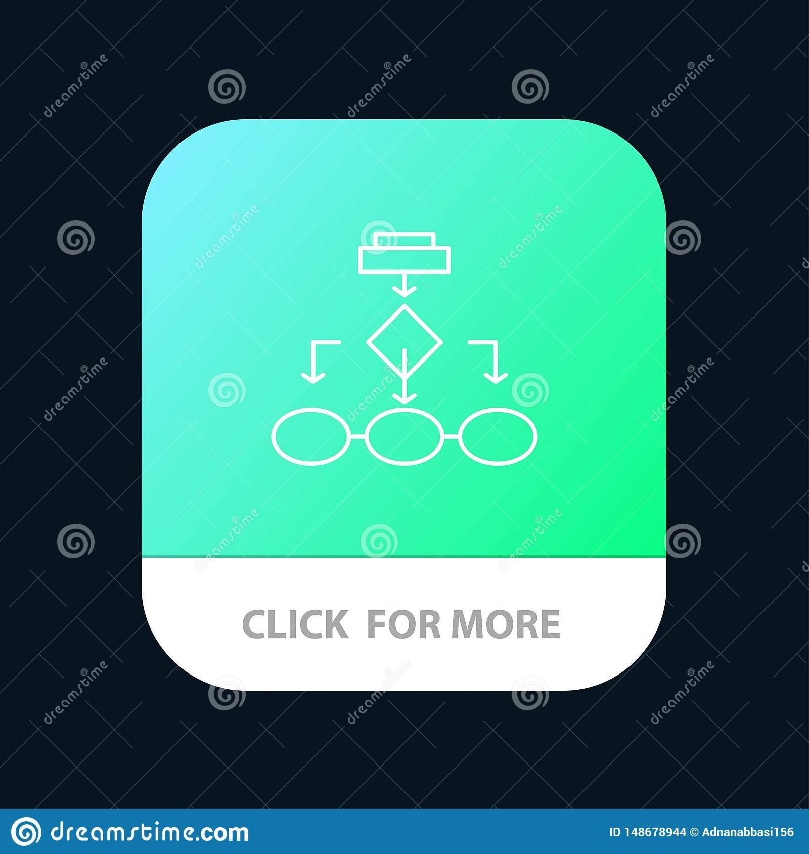Flowchart, Algorithm, Business, Data Architecture, Scheme, Structure, Workflow Mobile App Button. Android and IOS Line Version