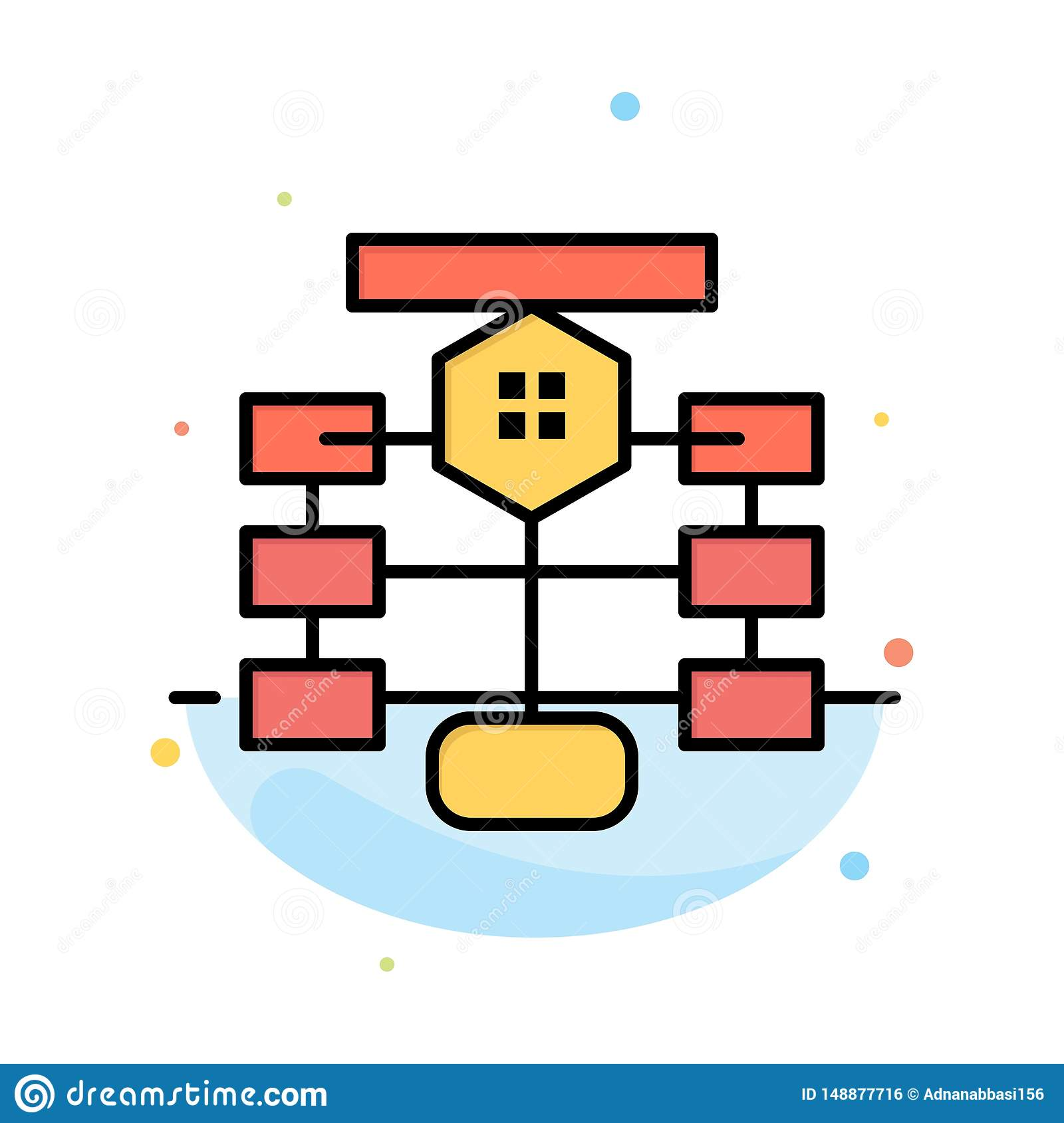 Flowchart  Flow  Chart  Data  Database Abstract Flat Color Icon Template Stock Vector