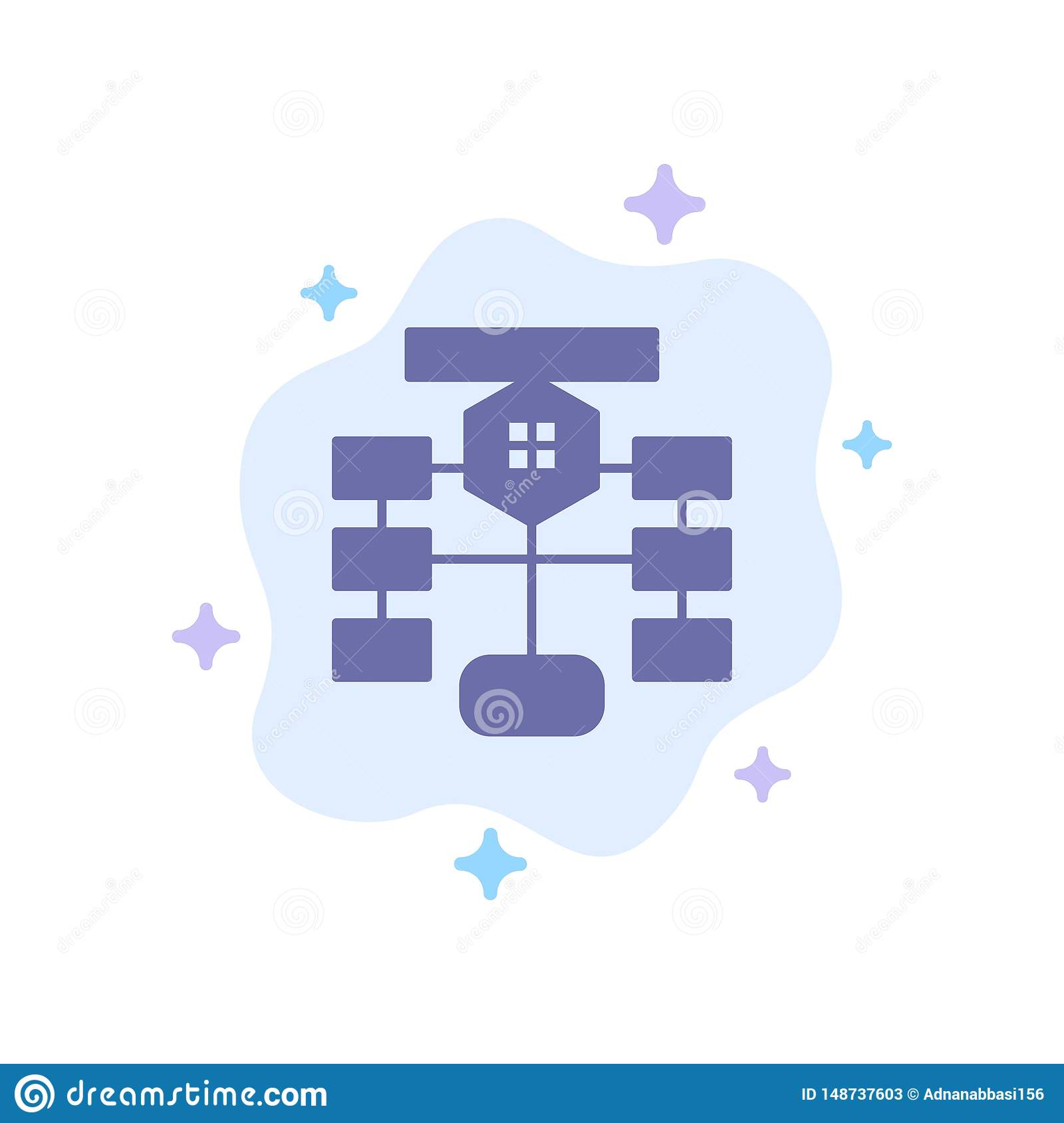 Flowchart, Flow, Chart, Data, Database Blue Icon on Abstract Cloud Background