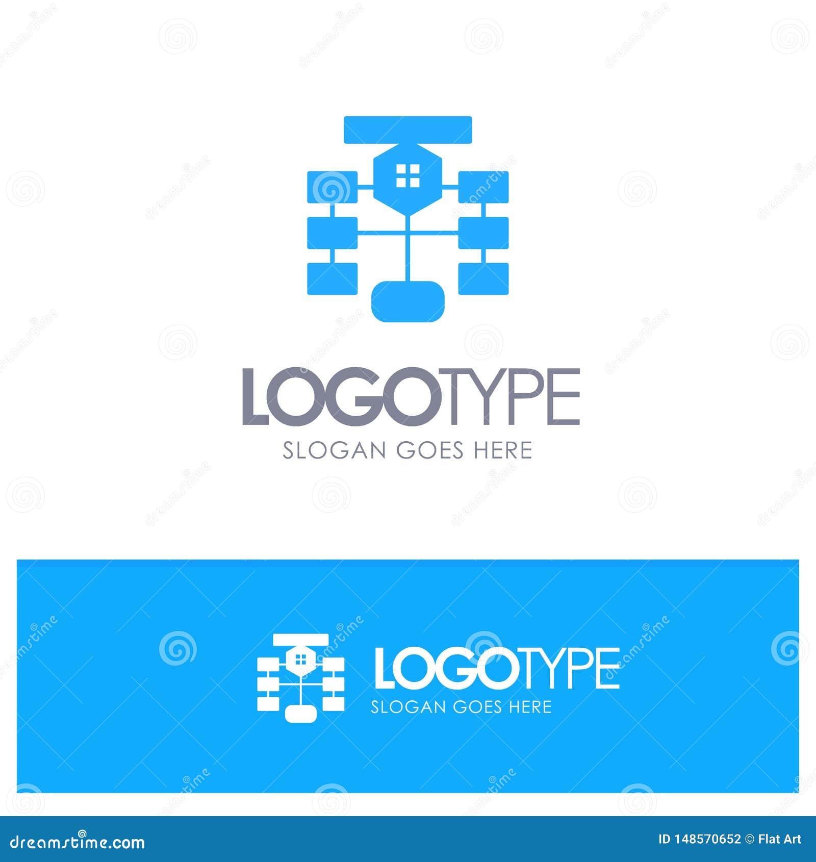 Flowchart, Flow, Chart, Data, Database Blue Logo vector