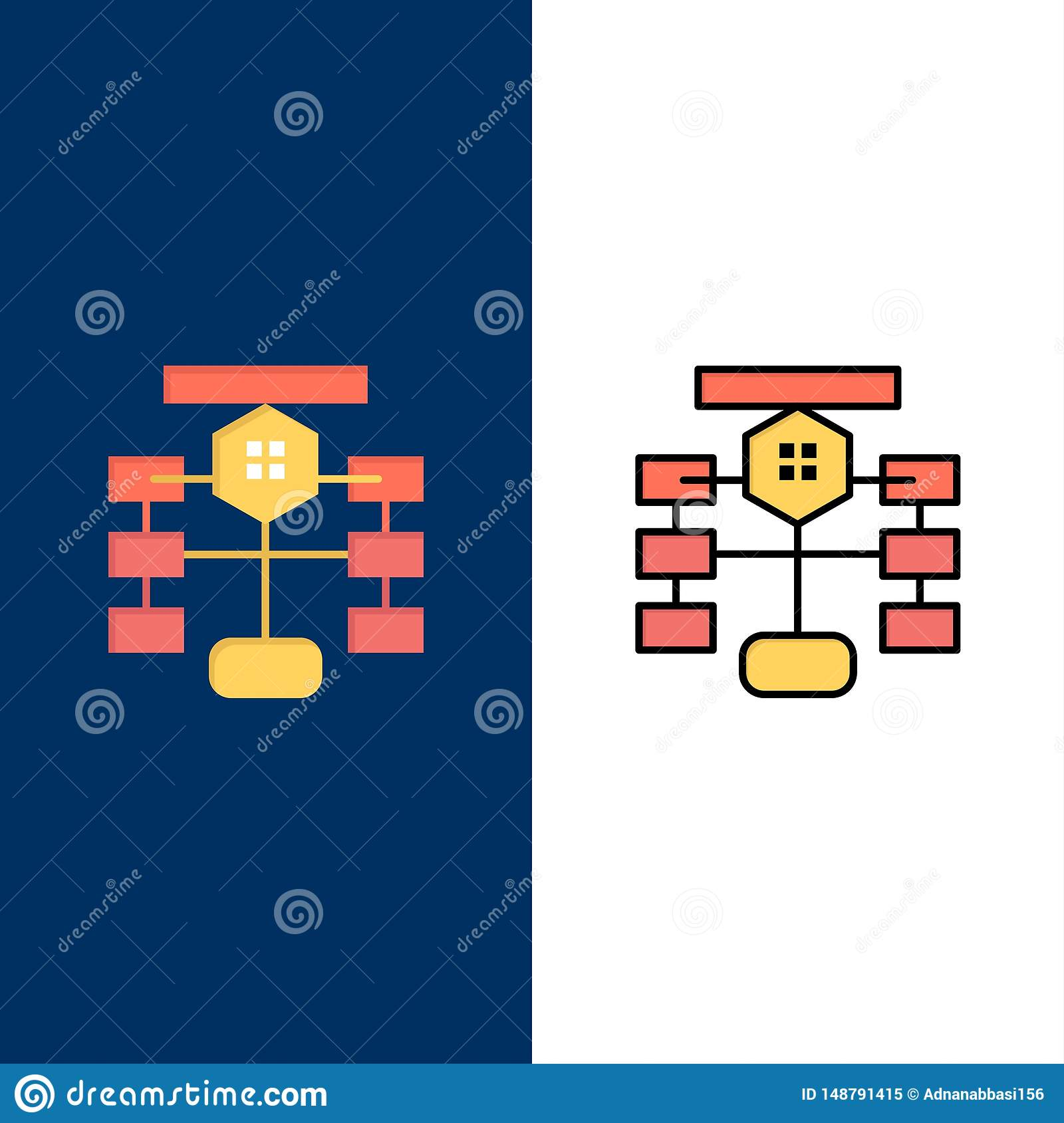 Flowchart, Flow, Chart, Data, Database Icons. Flat and Line Filled Icon Set Vector Blue Background