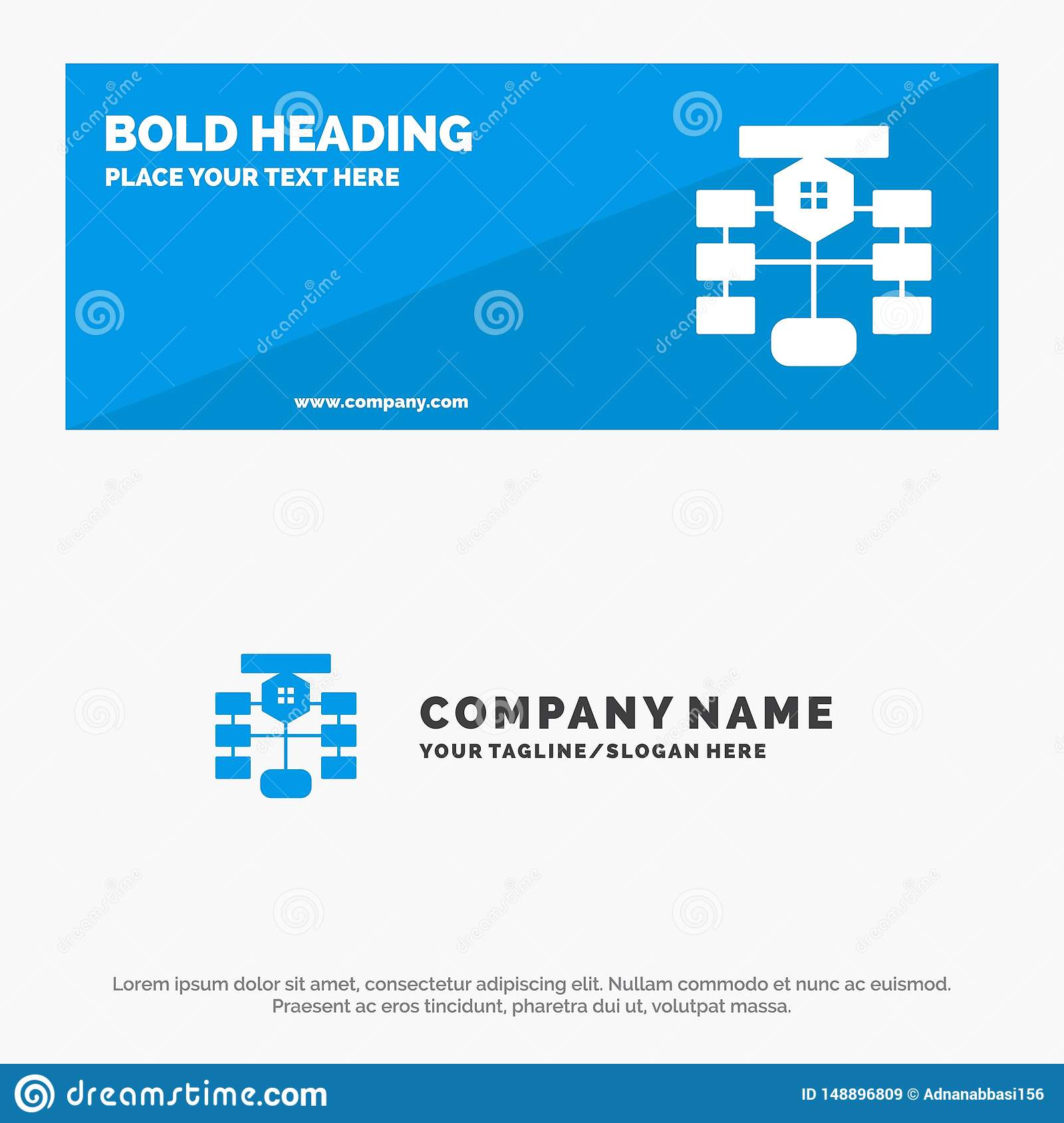 Flowchart  Flow  Chart  Data  Database Solid Icon Website Banner And Business Logo Template
