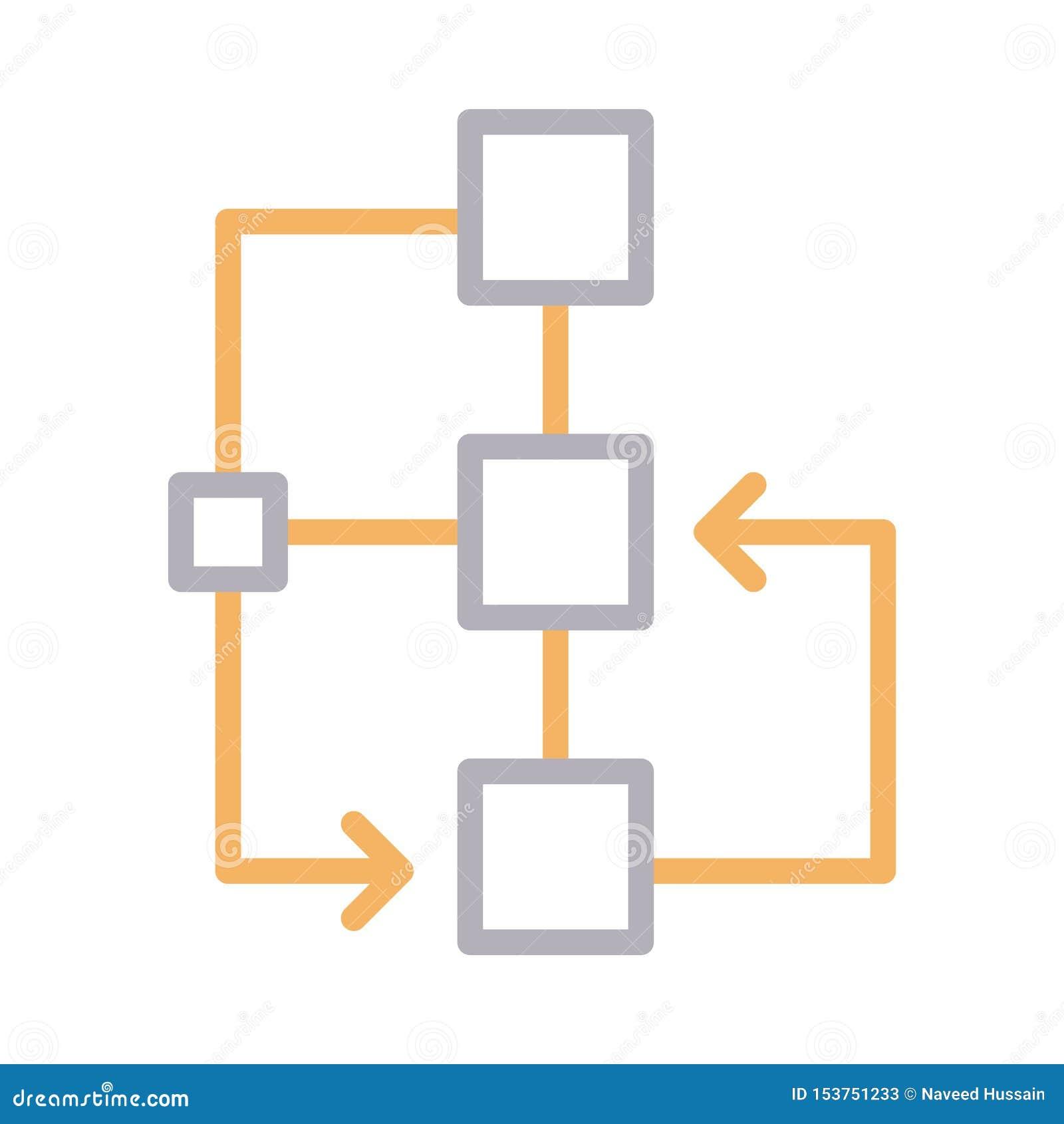 Flowchart colour line vector icon