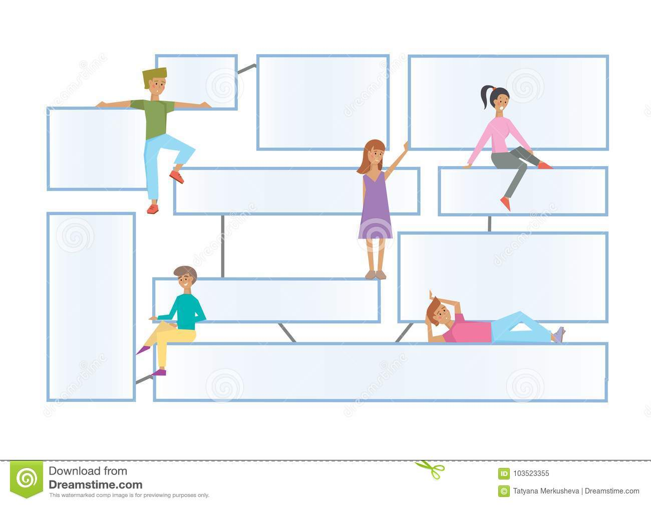 Flowchart latout with human characters on a white background. Connected info-boxes for presentation. Infographics flat