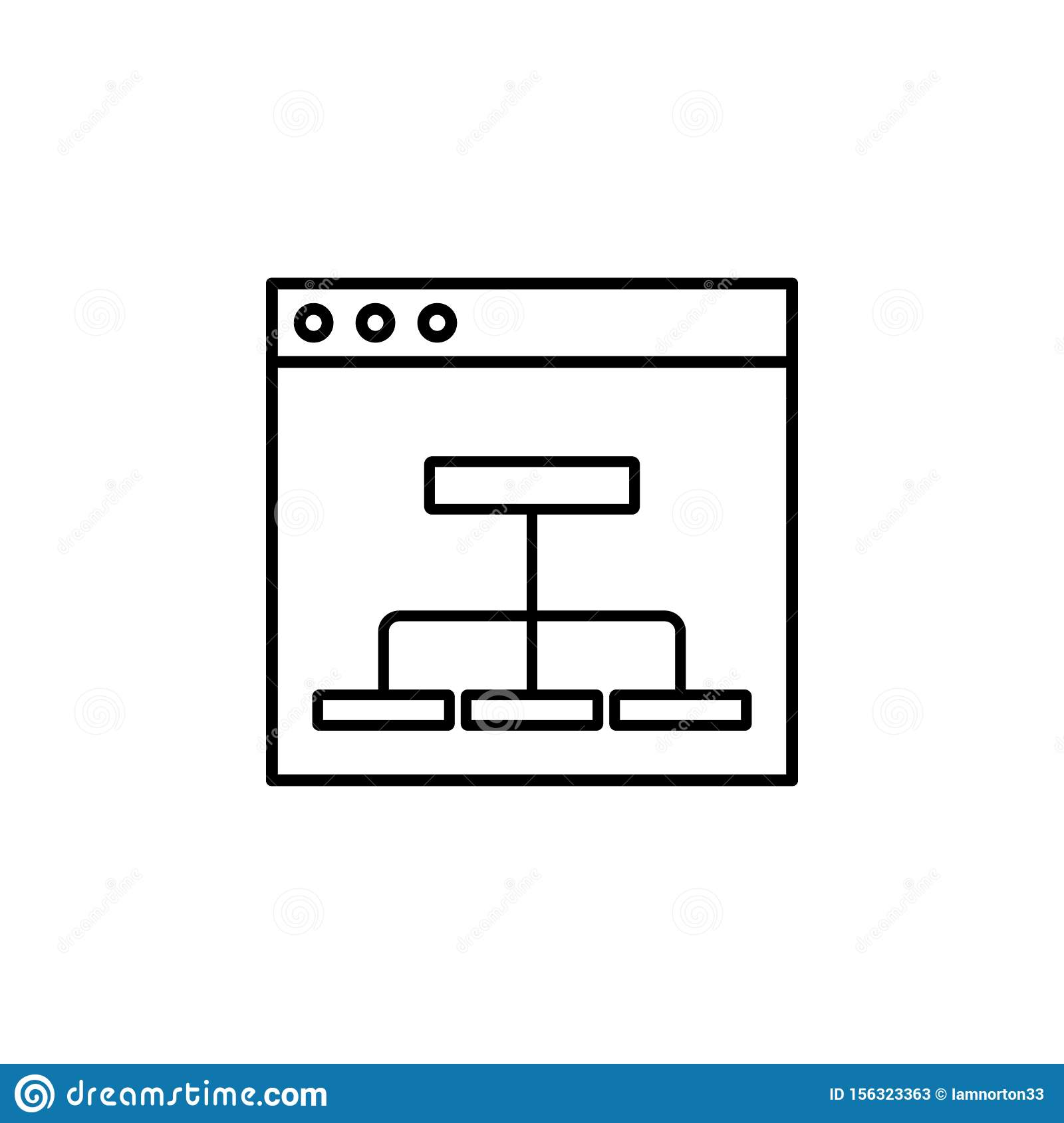flowchart, mapping icon. Simple outline vector of Web Design Development set icons for UI and UX, website or mobile application