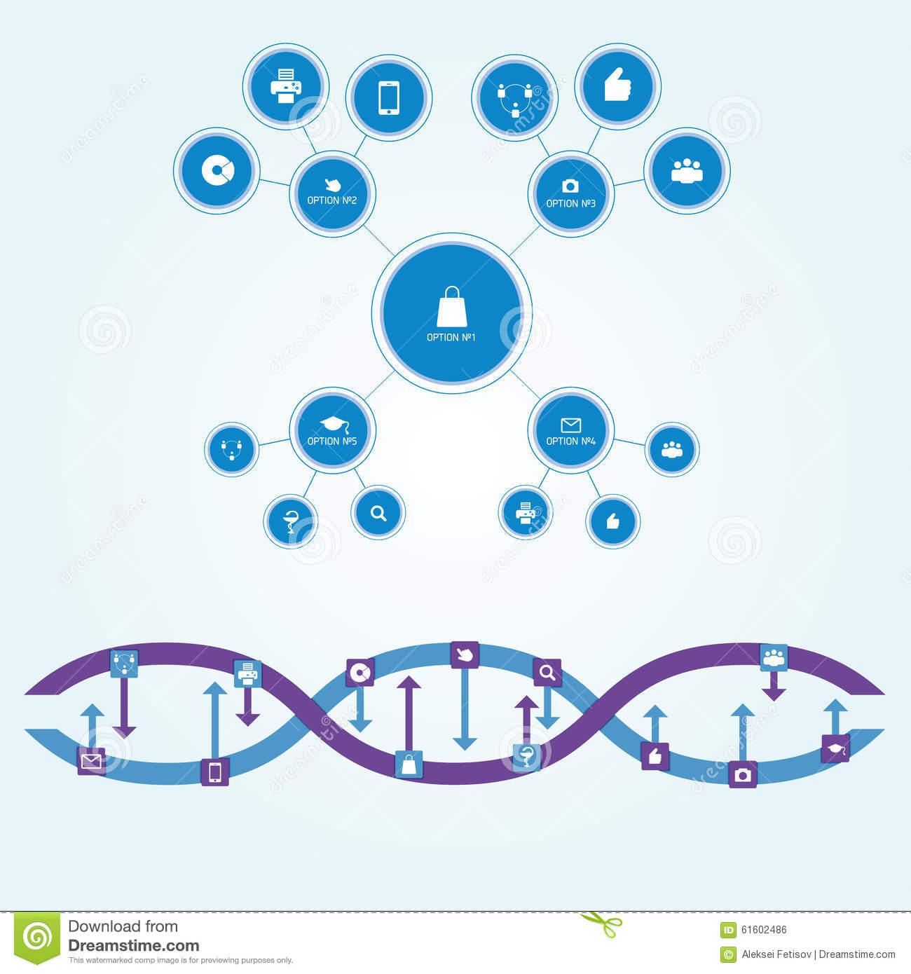 Flowchart scheme of circles of different sizes connected by straight lines in flat style. Interaction is depicted as chain of DNA.