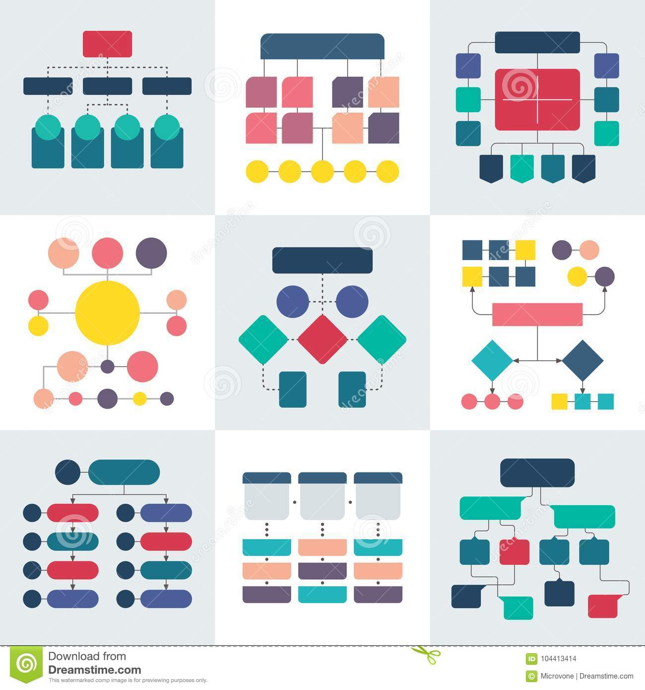 Flowchart schemes and hierarchy diagrams. Workflow chart vector elements