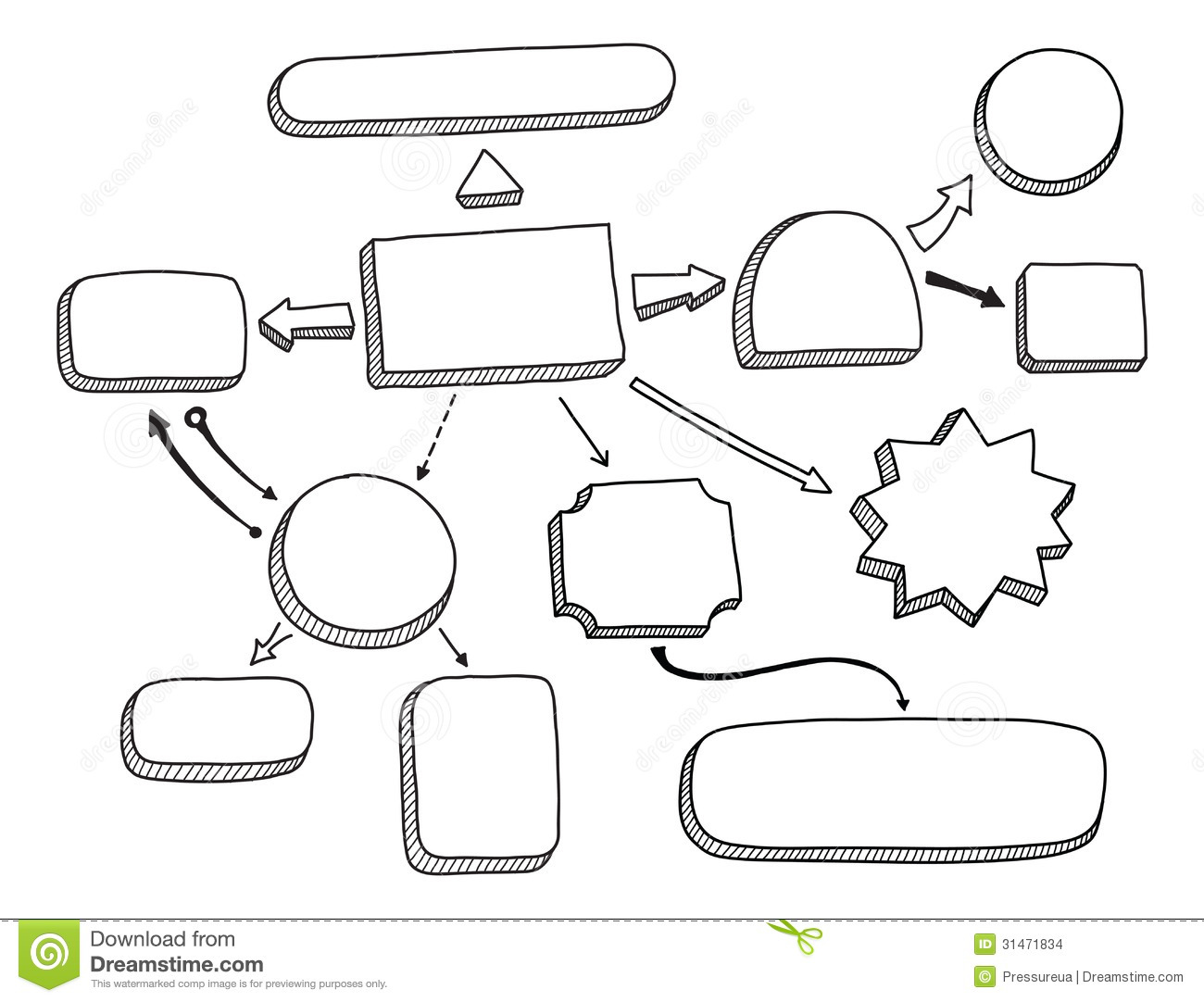 Hand draw doodle sketch mind map blank flow chart stock vector flowchart vector illustration stock images nvjuhfo Gallery